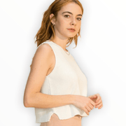 Sleeveless crop tank sweater with side slits (cream and lime available)