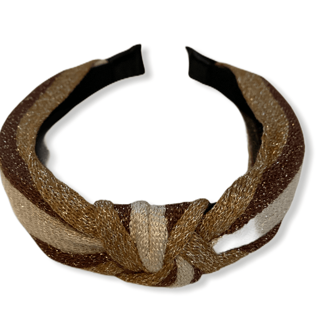 Brown/cream shiny top knot headband