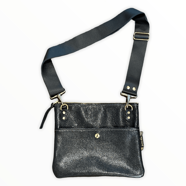 Black leather crossbody purse - real leather