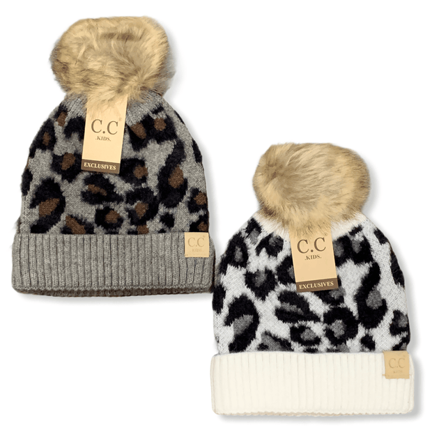 CC kids leopard pattern beanie with pom pom
