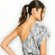 Snakeskin one shoulder top