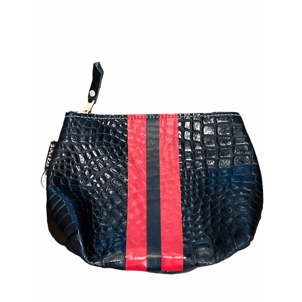 Leather black with red stripe makeup/pouch