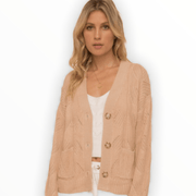 Blush textured cardigan light sweater