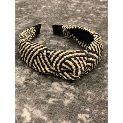 Basket weave top knot headband