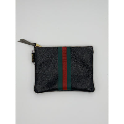 Leather pouch w/red and green stripe - Bolt Addiction