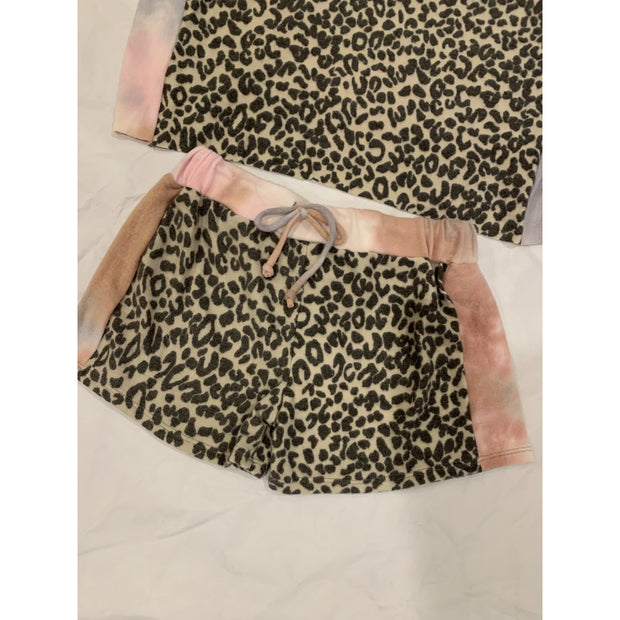 Kids tie dye leopard soft shorts