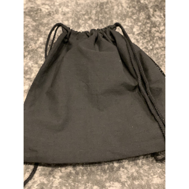 Black faux leather drawstring bag
