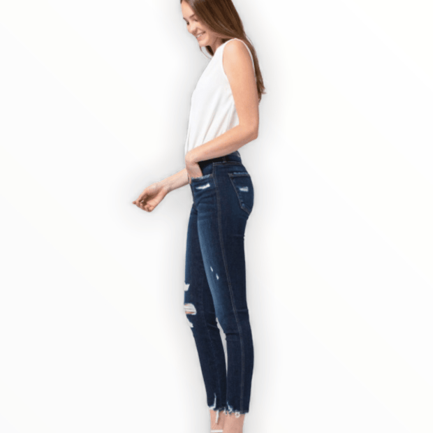 High Rise distressed cropped skinny jeans