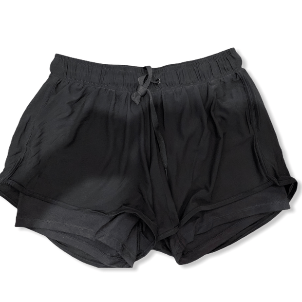 Black active mesh shorts with inner lining