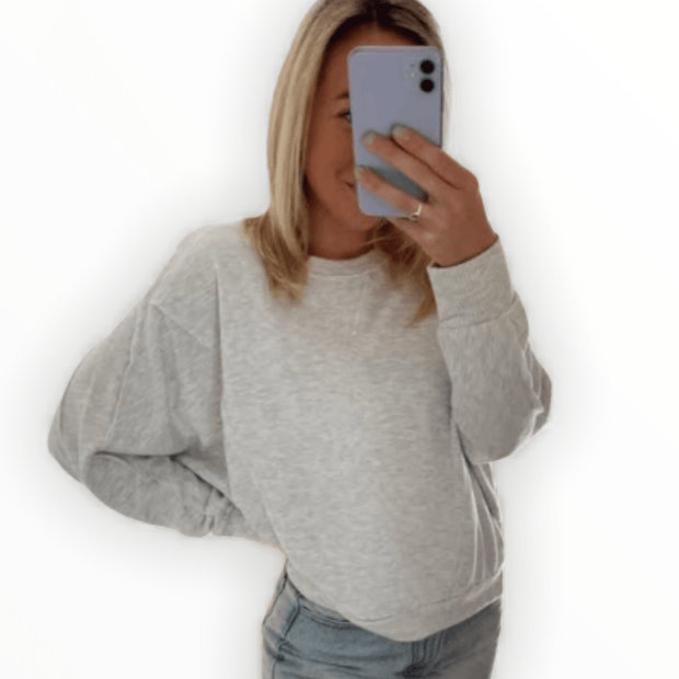 Exposed seam heather grey pullover