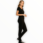 Short sleeve black jumpsuit