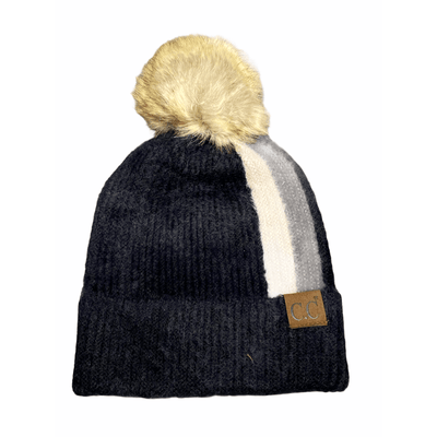 C.C. brand decorative double stripes fur beanie