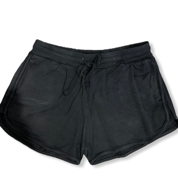 Mineral wash French terry lounge shorts in black
