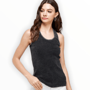 Waffle thermal tank top with mesh detail