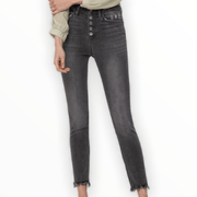 Black/Grey High Rise crop skinny with expose button fly jeans