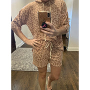 Blush Leopard hoodie lounge wear set
