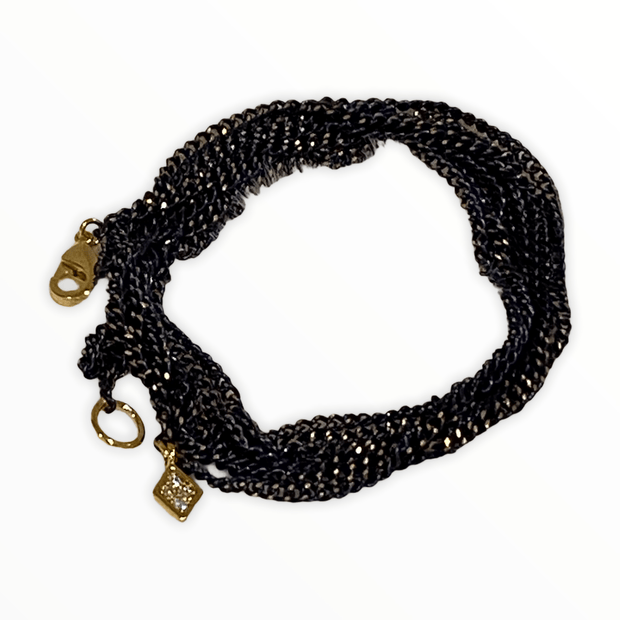 Navy/gold chain wrap bracelet/necklace with charm