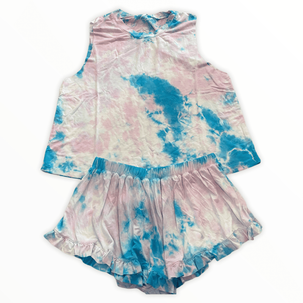 Tween pink/blue tie dye short set