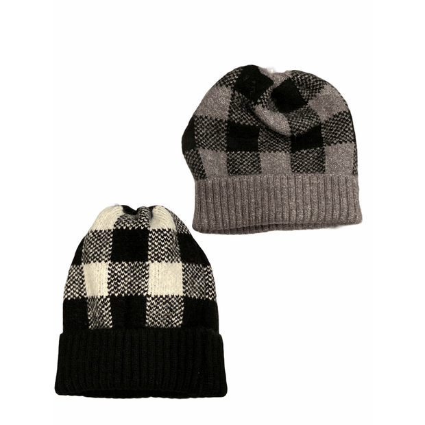 Plaid Beanie - Multiple colors