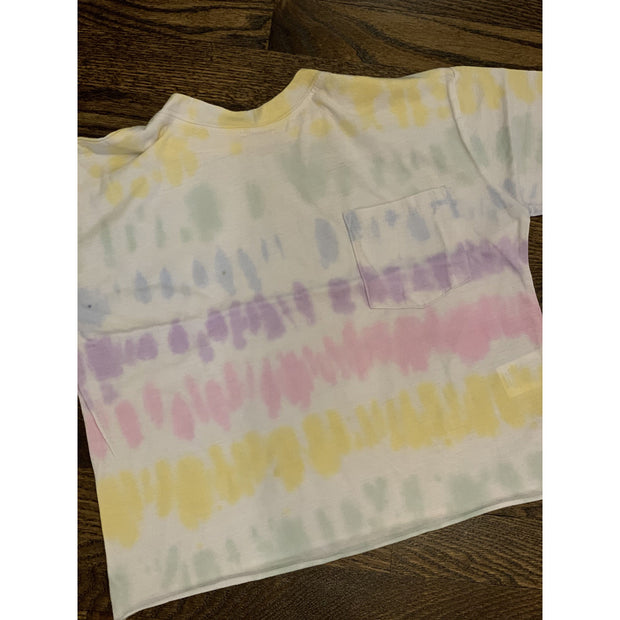 Kids Unicorn stripe crop pocket tee