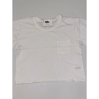White boxy cropped pocket tee