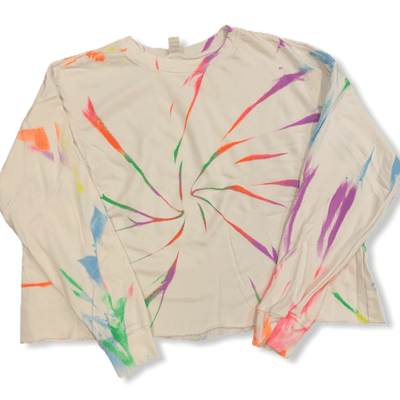 Neon tie dye drop shoulder thin sweatshirt