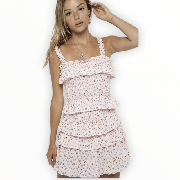 Floral Straps for Smocked Body Ruffle Top and Smocked Body Ruffle Skirt Set