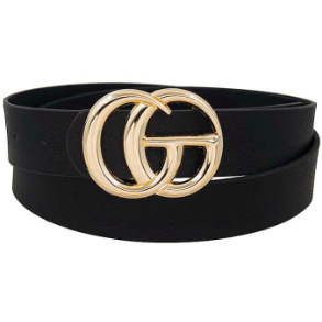 Letter buckle accent belt