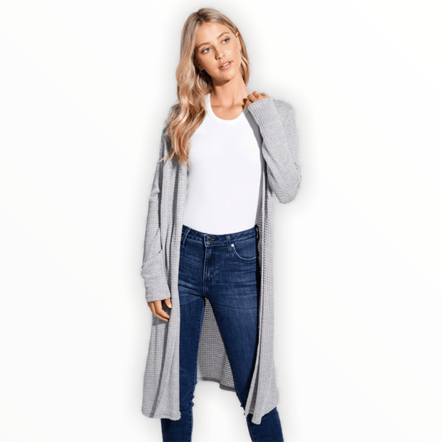 Waffle long cardigan in Grey
