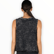 Acid wash muscle tank with front pocket