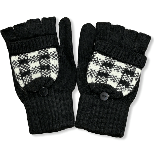 Black and white checkered fingerless gloves