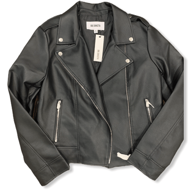 BB Dakota black leather moto jacket - sz Medium