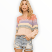 Multi Color stripe textured sweater