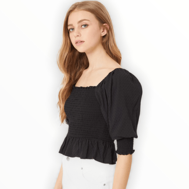 Pedlum smocked ruffled 3/4 top