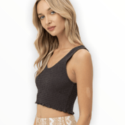 Cropped smocked black top