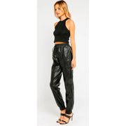 Leather drawstring jogger - Bolt Addiction