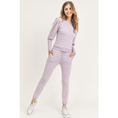 Puff sleeve stripe loungewear set