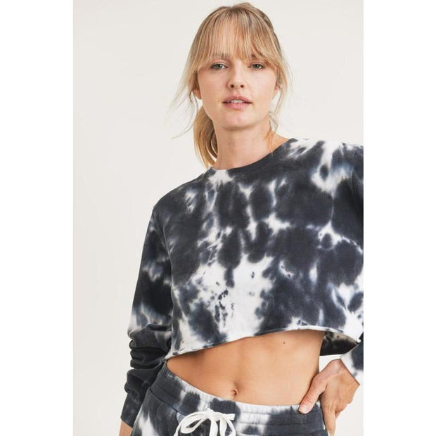 Tie-Dye Cotton Terry Cropped Pullover