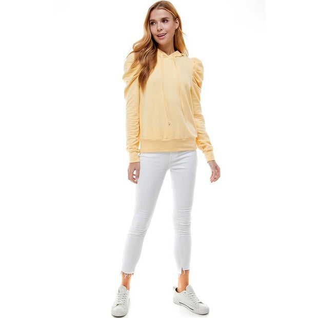 Cream and Yellow puff sleeve hooded top