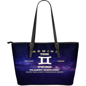 NP Zodiac Gemini Leather Tote Bag