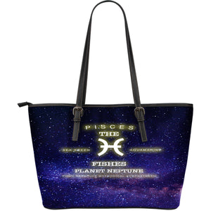 NP Zodiac Pisces Leather Tote Bag