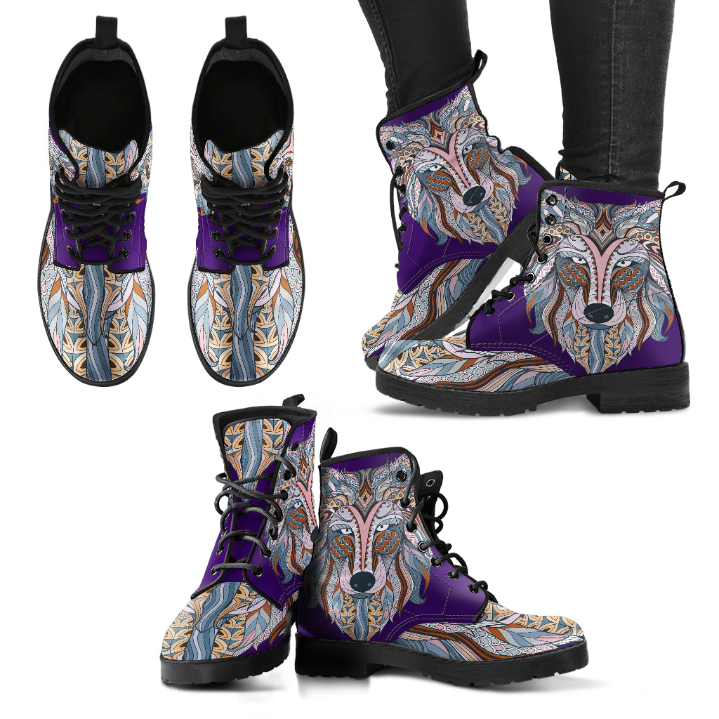 HandCrafted Colorful Zendoodle Wolf Head Boots
