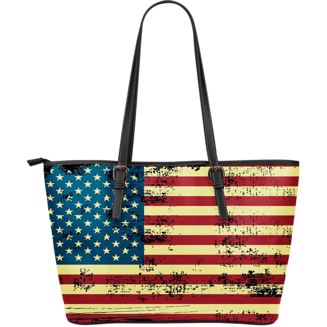 NP American Flag Leather Tote Bag