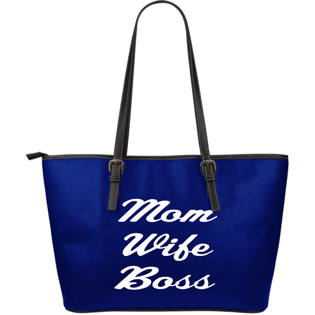 NP Mom Wife Boss Leather Tote Bag