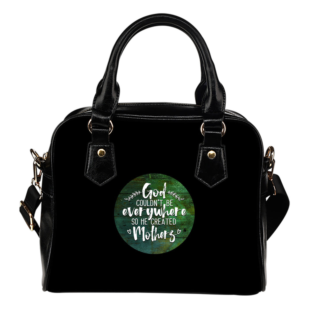 NP God Created Mothers Leather Shoulder Handbag