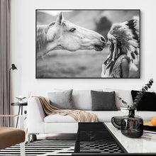 Load image into Gallery viewer, WHITE HORSE WITH NATIVE AMERICAN PAINTING