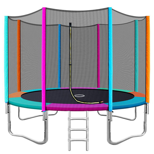 12FT Trampoline Round Trampolines Kids Safety Net Enclosure Pad Outdoor Gift Multi-coloured