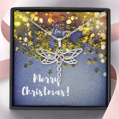 Merry Christmas Dragonfly Necklace V3