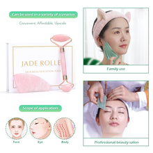 Load image into Gallery viewer, ROSE GOLD JADE STONE FACE ROLLER