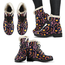 Load image into Gallery viewer, Pink Music Notes Faux Fur Leather Boots Winter Shoes